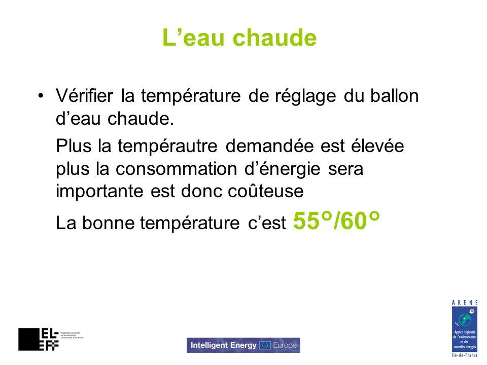 Leau chaude Vérifier la température de réglage du ballon deau chaude. Plus la tempérautre demandée est élevée plus la consommation dénergie sera impor
