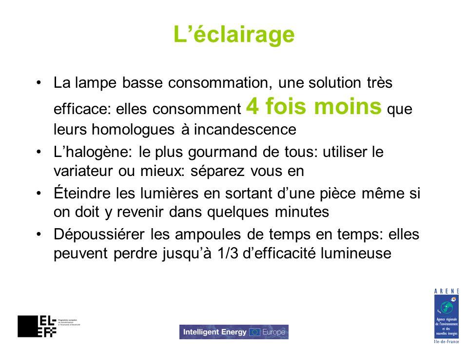 Léclairage La lampe basse consommation, une solution très efficace: elles consomment 4 fois moins que leurs homologues à incandescence Lhalogène: le p