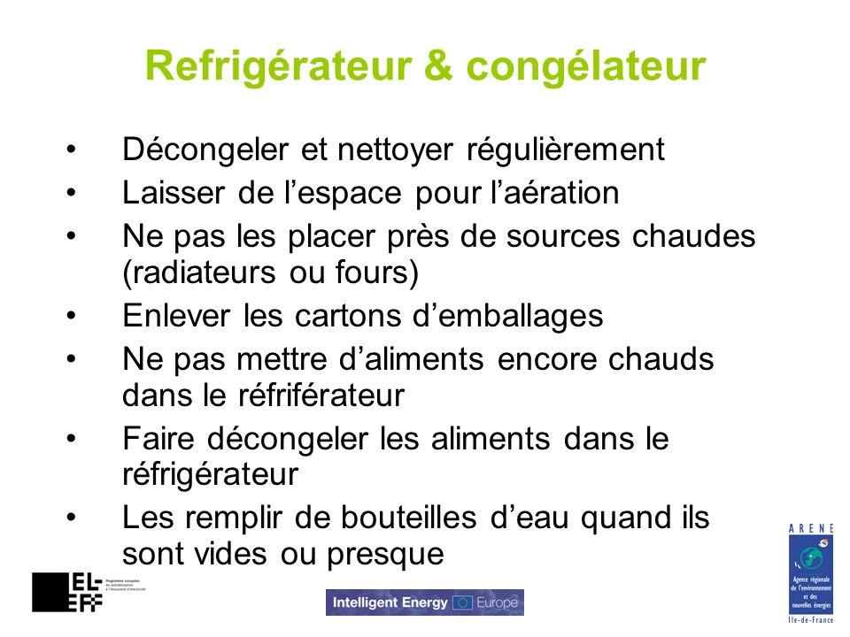 Refrigérateur & congélateur Décongeler et nettoyer régulièrement Laisser de lespace pour laération Ne pas les placer près de sources chaudes (radiateu