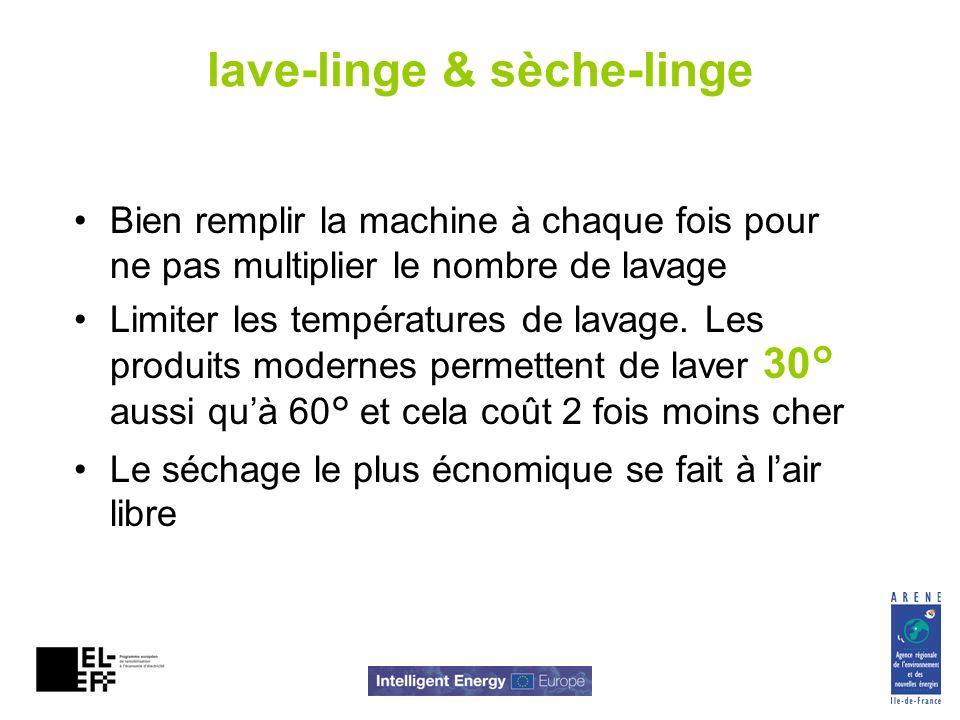 lave-linge & sèche-linge Bien remplir la machine à chaque fois pour ne pas multiplier le nombre de lavage Limiter les températures de lavage. Les prod