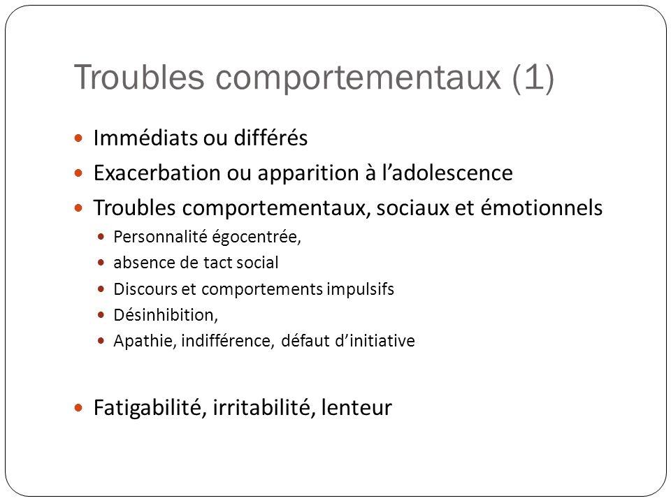 Troubles comportementaux (1) Immédiats ou différés Exacerbation ou apparition à ladolescence Troubles comportementaux, sociaux et émotionnels Personna