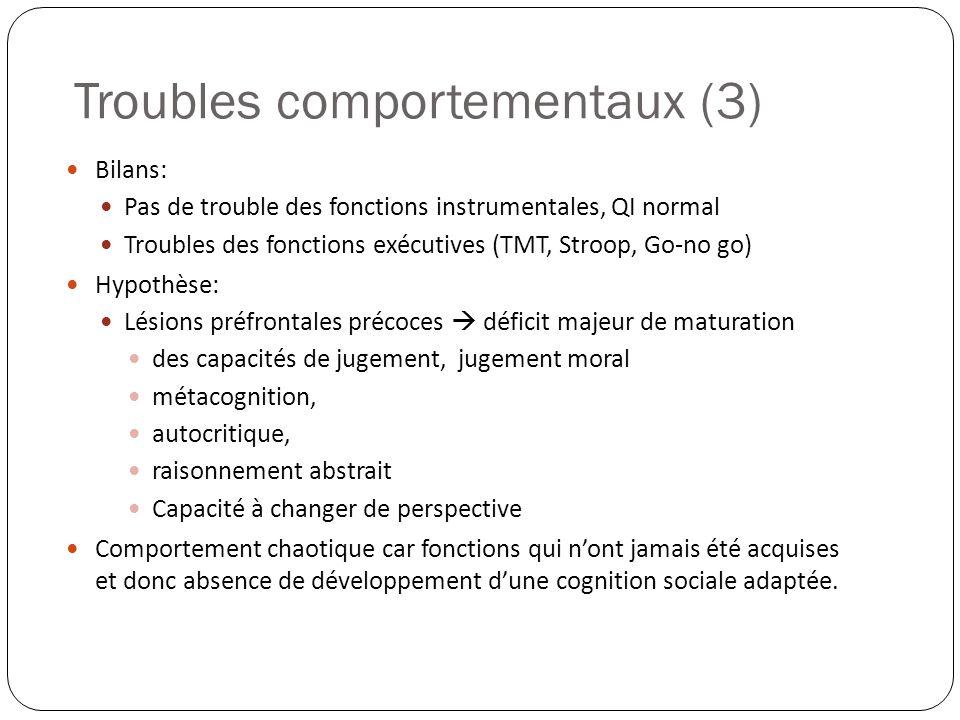 Bilans: Pas de trouble des fonctions instrumentales, QI normal Troubles des fonctions exécutives (TMT, Stroop, Go-no go) Hypothèse: Lésions préfrontal