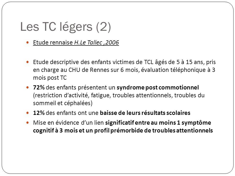 Etude rennaise H.Le Tallec,2006 Etude descriptive des enfants victimes de TCL âgés de 5 à 15 ans, pris en charge au CHU de Rennes sur 6 mois, évaluati