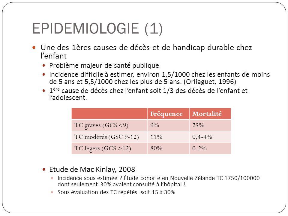 EPIDEMIOLOGIE (2) Etiologies : AVP ++ ; piétons > mobylettes … Chutes (table à langer, lit, mezzanine, escaliers...) Avant 1 an : Syndrome du bébé secoué .