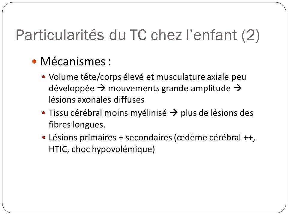 Particularités du TC chez lenfant (2) Mécanismes : Volume tête/corps élevé et musculature axiale peu développée mouvements grande amplitude lésions ax