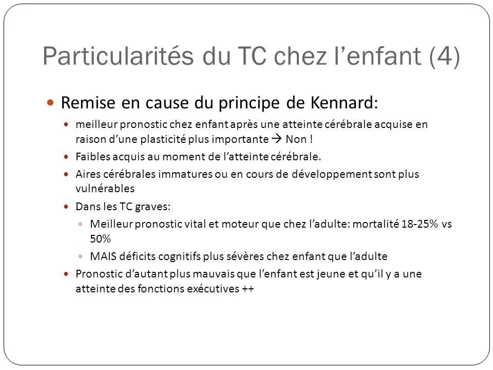 Particularités du TC chez lenfant (4) Remise en cause du principe de Kennard: meilleur pronostic chez enfant après une atteinte cérébrale acquise en r