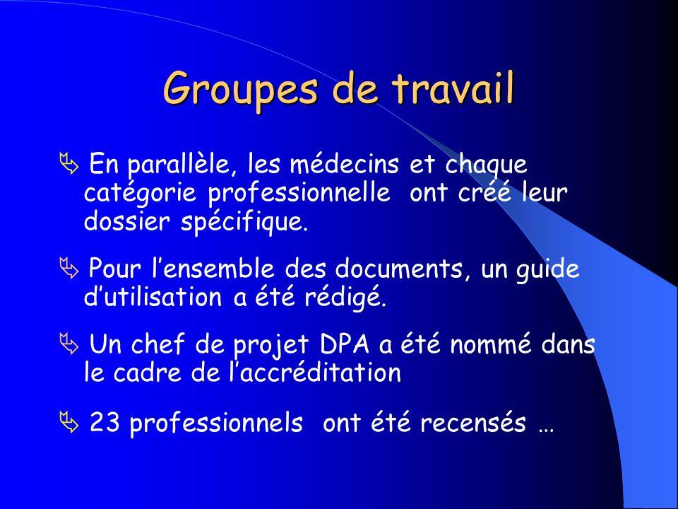 Groupes de travail En parallèle, les médecins et chaque catégorie professionnelle ont créé leur dossier spécifique. Pour lensemble des documents, un g