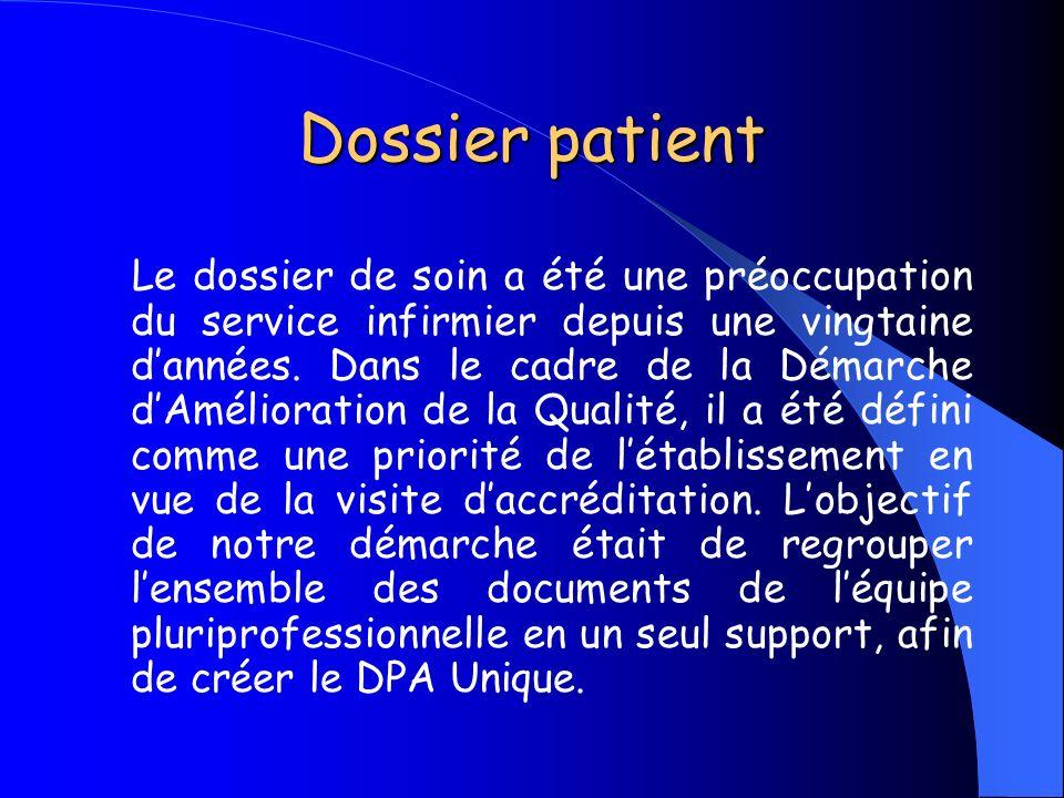 Dossier patient Le dossier de soin a été une préoccupation du service infirmier depuis une vingtaine dannées. Dans le cadre de la Démarche dAméliorati
