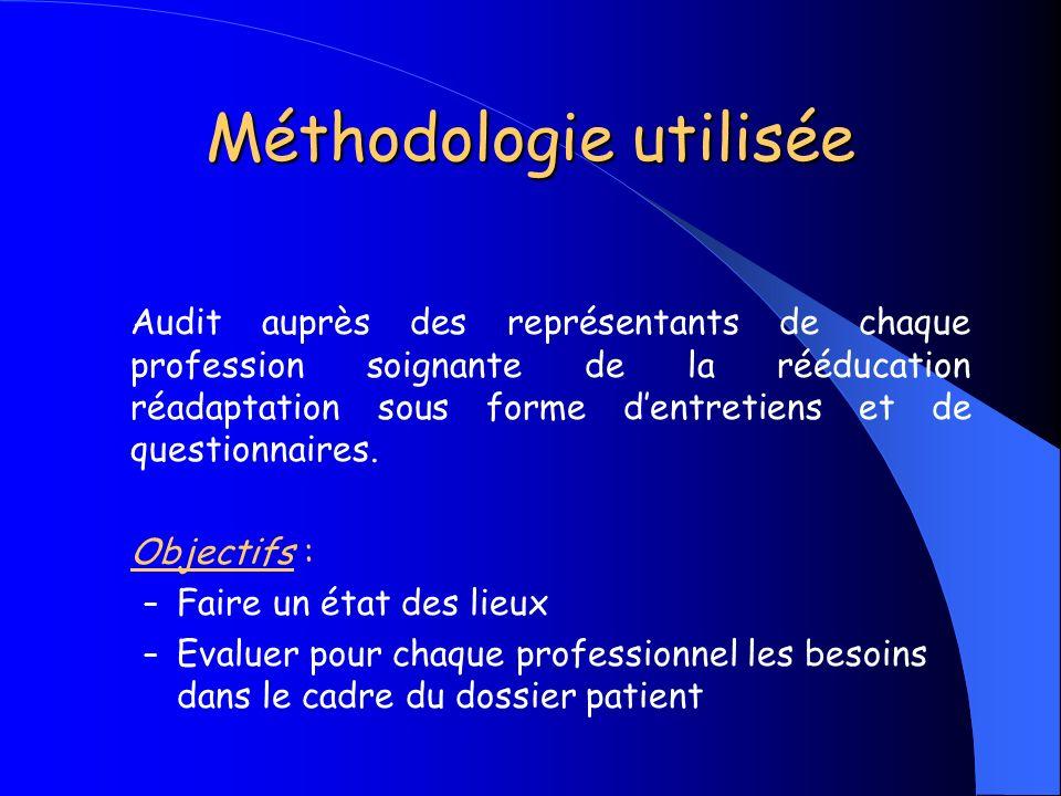 Méthodologie utilisée Audit auprès des représentants de chaque profession soignante de la rééducation réadaptation sous forme dentretiens et de questi