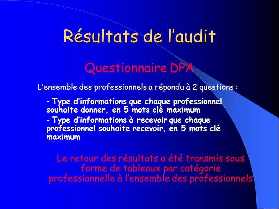 Résultats de laudit Questionnaire DPA Lensemble des professionnels a répondu à 2 questions : - Type dinformations que chaque professionnel souhaite do