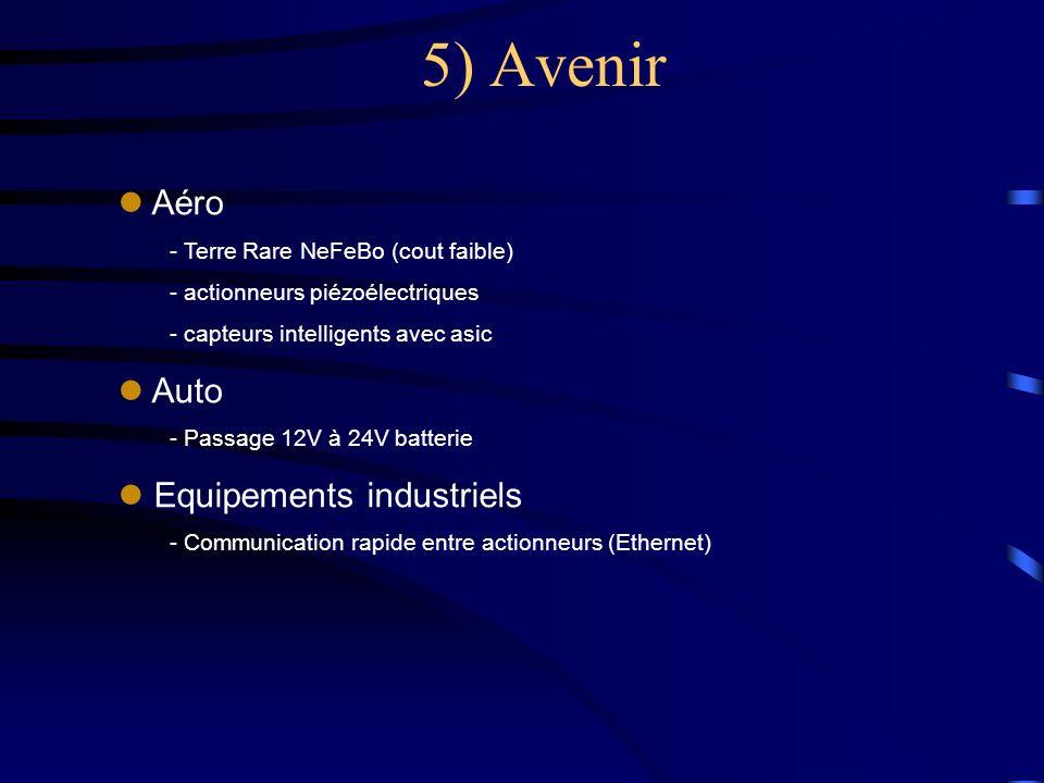 5) Avenir l Aéro - Terre Rare NeFeBo (cout faible) - actionneurs piézoélectriques - capteurs intelligents avec asic l Auto - Passage 12V à 24V batteri