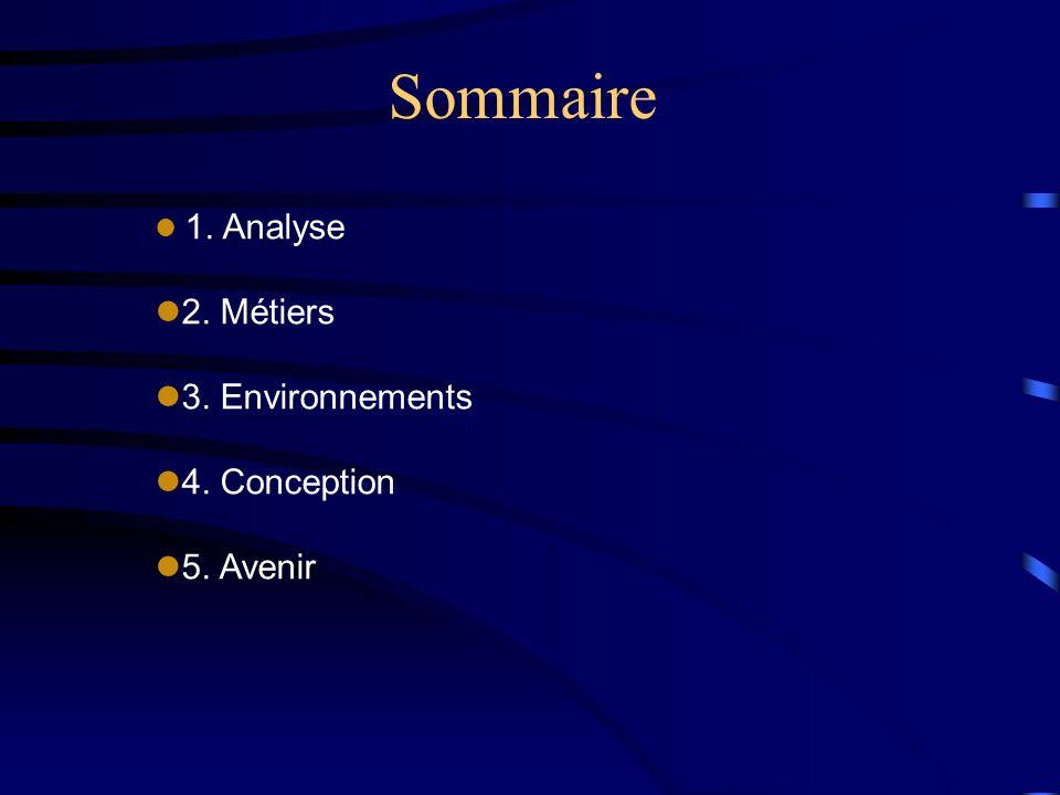 Sommaire l 1. Analyse l2. Métiers l3. Environnements l4. Conception l5. Avenir