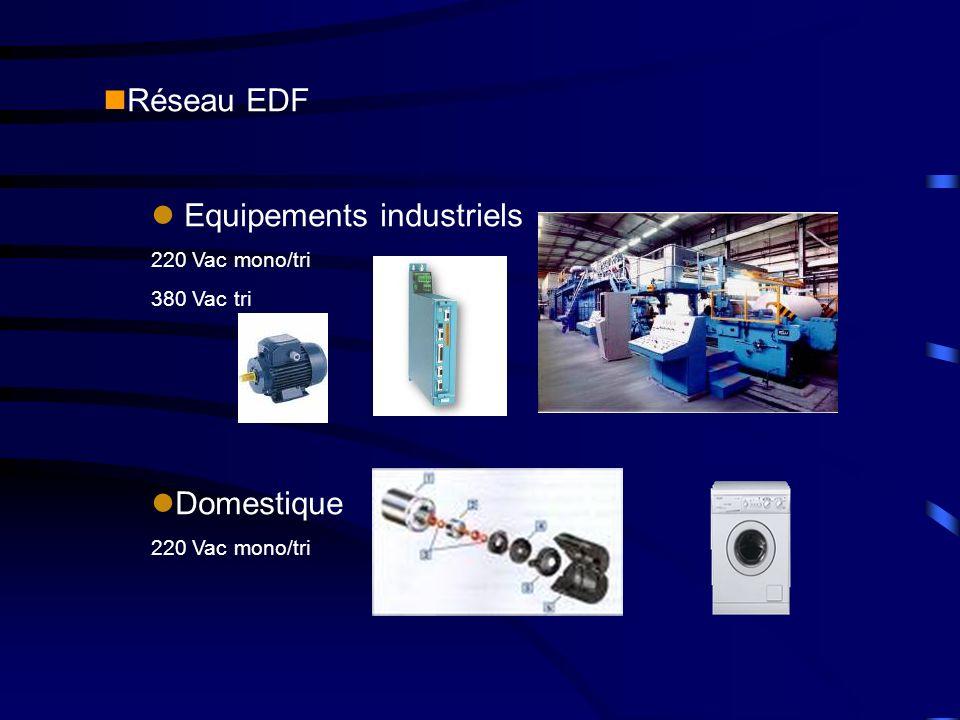 nRéseau EDF l Equipements industriels 220 Vac mono/tri 380 Vac tri lDomestique 220 Vac mono/tri