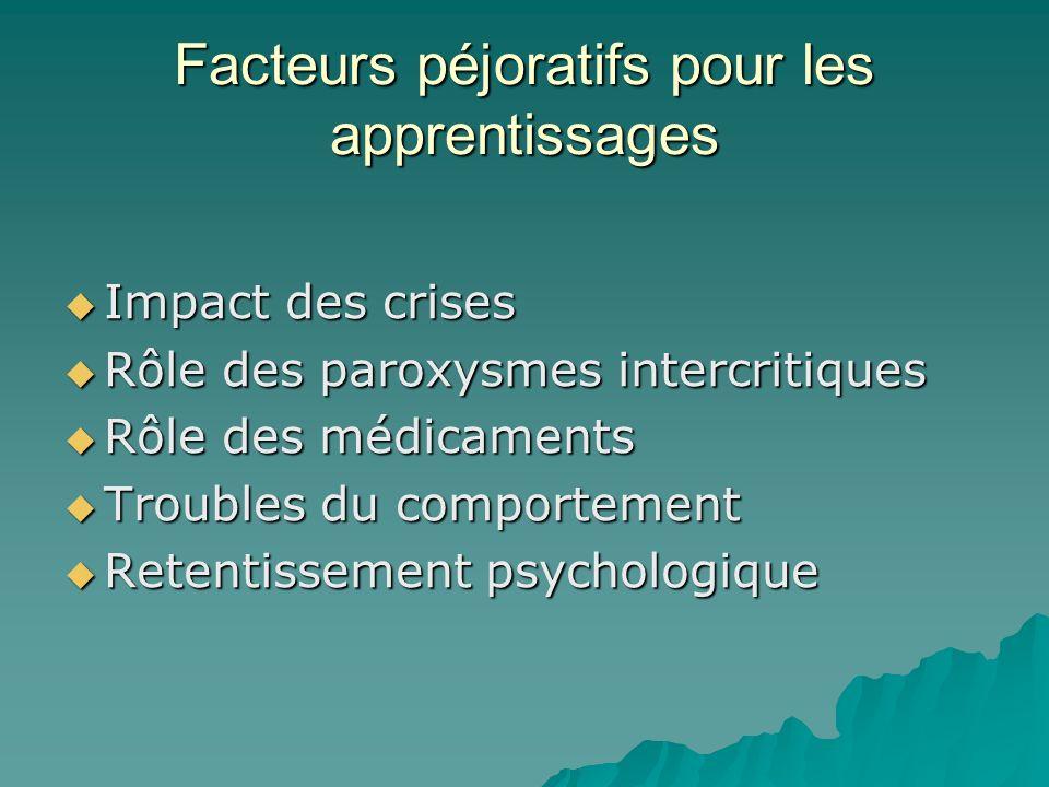 Facteurs péjoratifs pour les apprentissages Impact des crises Impact des crises Rôle des paroxysmes intercritiques Rôle des paroxysmes intercritiques