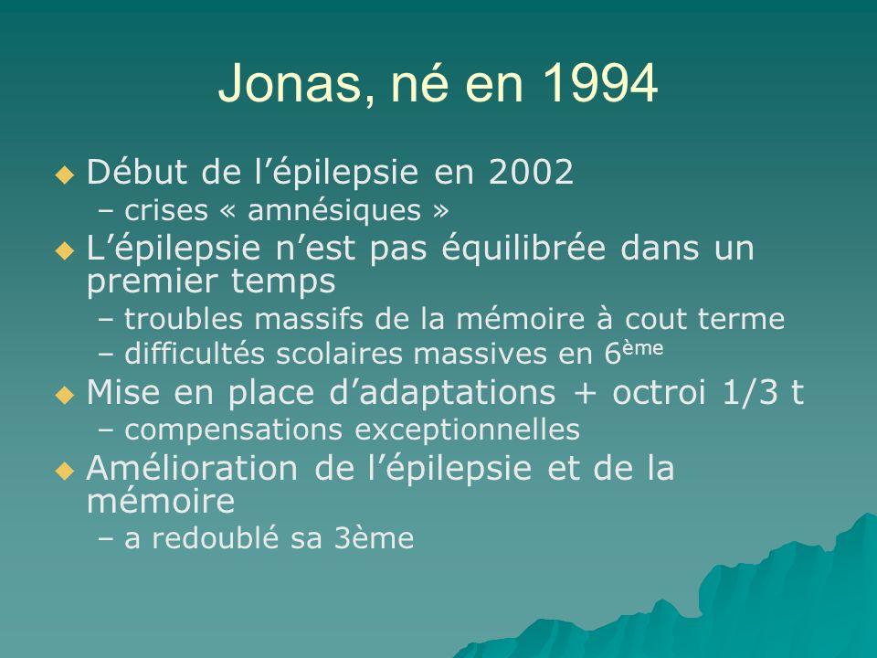 Jonas, né en 1994 Début de lépilepsie en 2002 – –crises « amnésiques » Lépilepsie nest pas équilibrée dans un premier temps – –troubles massifs de la