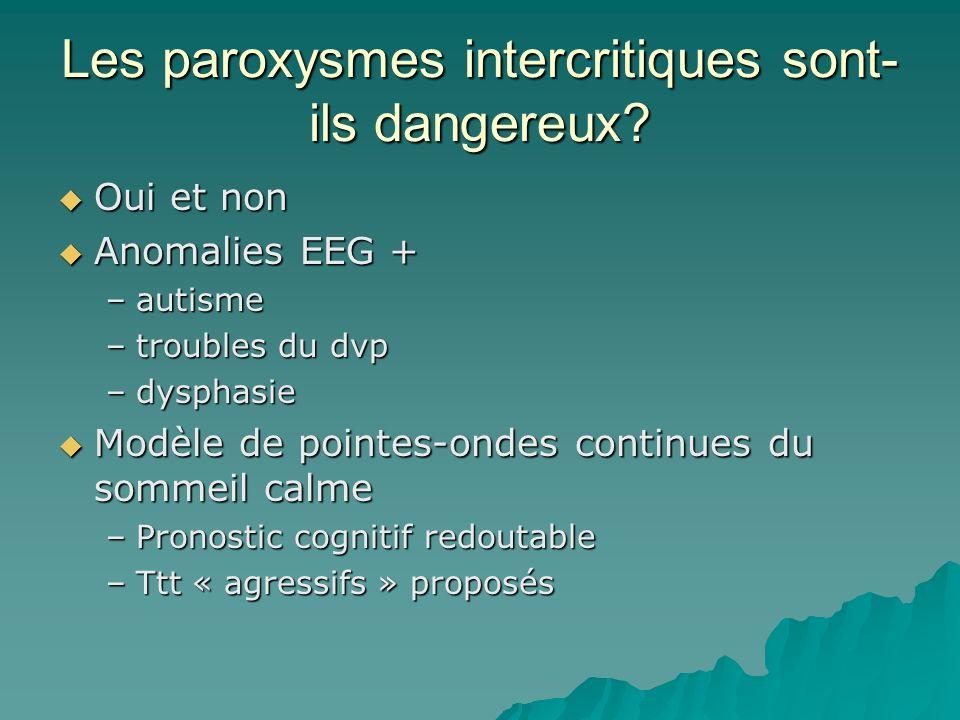 Les paroxysmes intercritiques sont- ils dangereux? Oui et non Oui et non Anomalies EEG + Anomalies EEG + –autisme –troubles du dvp –dysphasie Modèle d