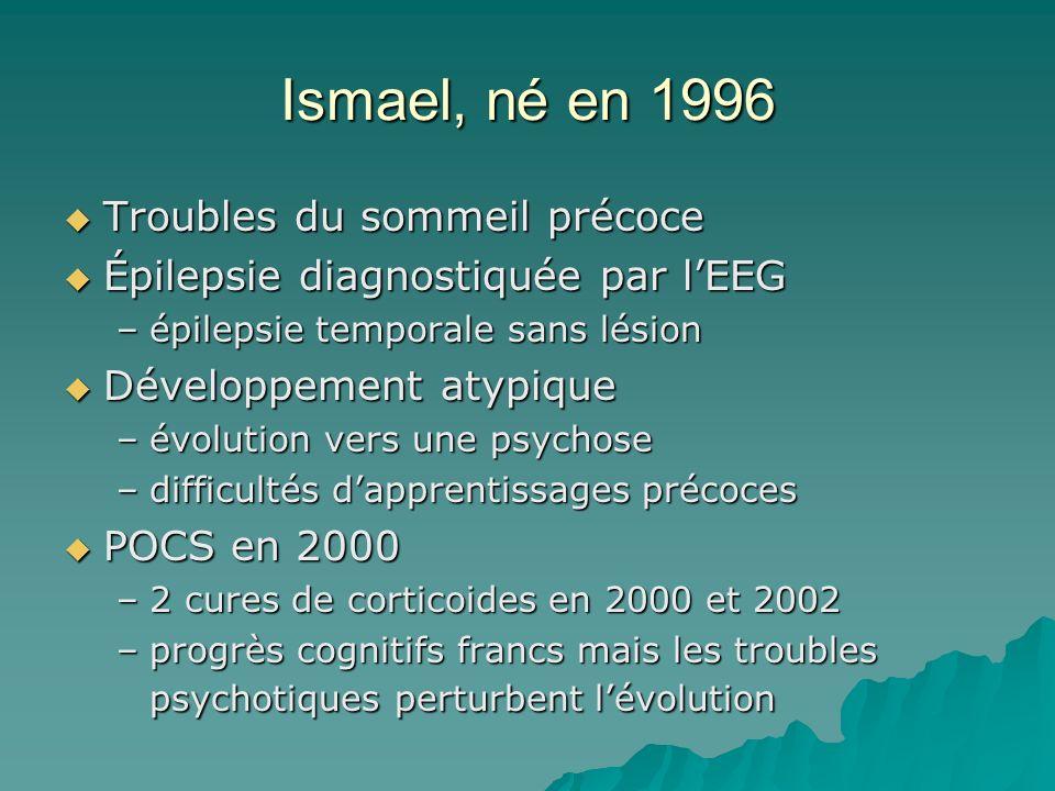 Ismael, né en 1996 Troubles du sommeil précoce Troubles du sommeil précoce Épilepsie diagnostiquée par lEEG Épilepsie diagnostiquée par lEEG –épilepsi