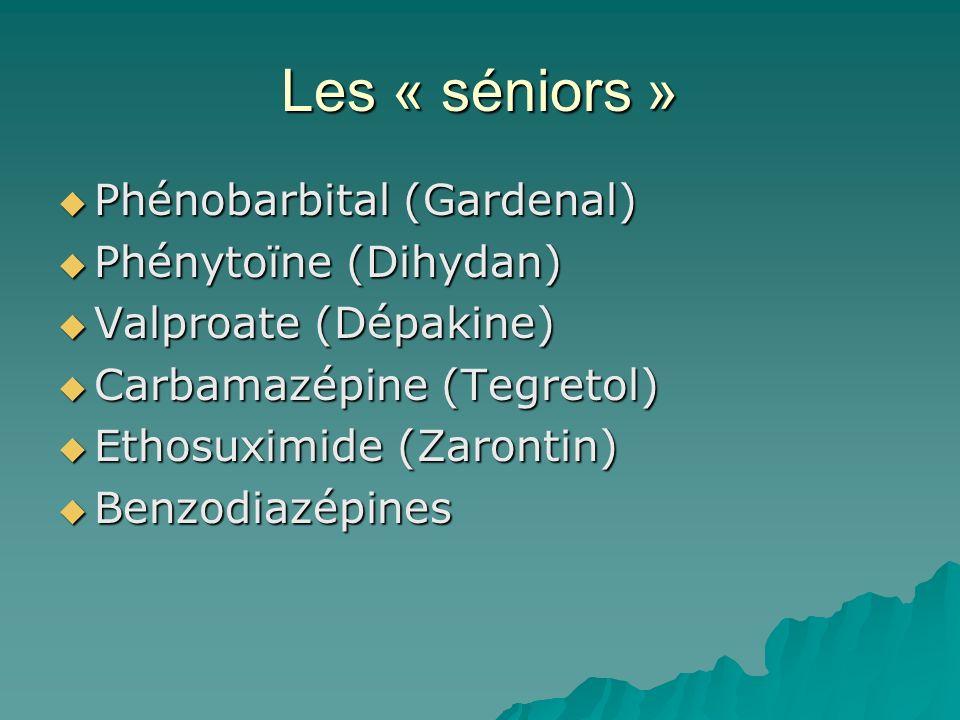 Les « séniors » Phénobarbital (Gardenal) Phénobarbital (Gardenal) Phénytoïne (Dihydan) Phénytoïne (Dihydan) Valproate (Dépakine) Valproate (Dépakine)