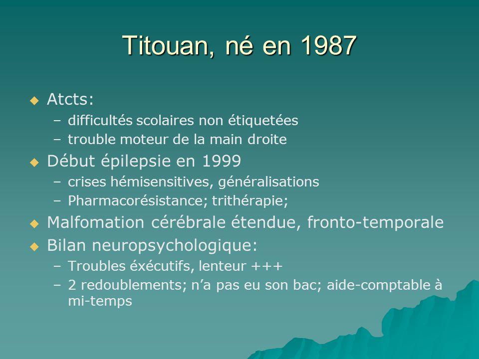 Titouan, né en 1987 Atcts: – –difficultés scolaires non étiquetées – –trouble moteur de la main droite Début épilepsie en 1999 – –crises hémisensitive