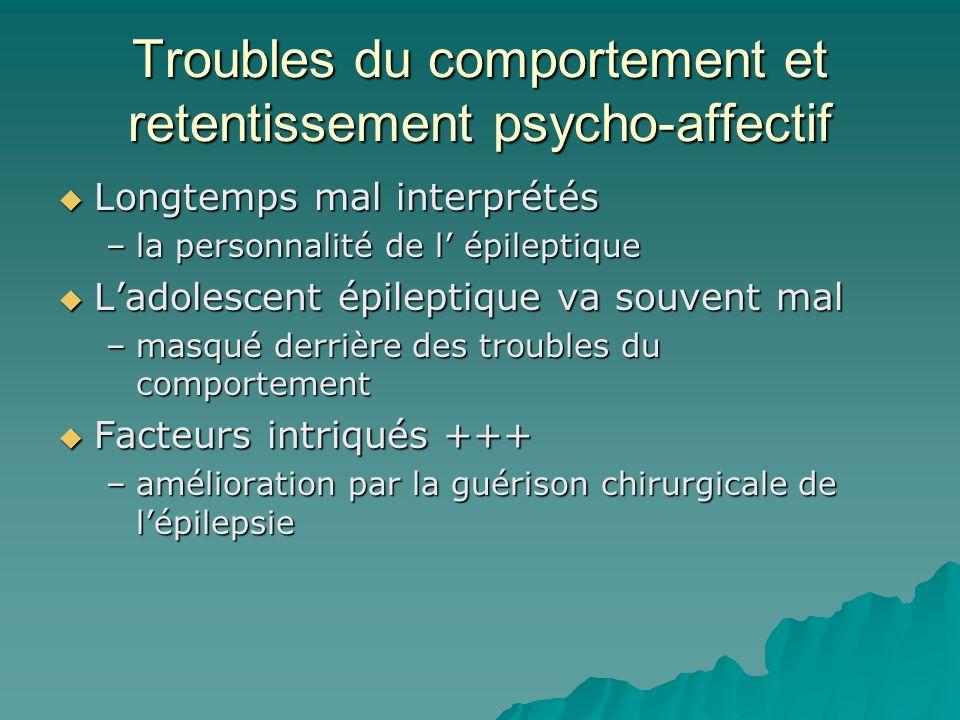 Troubles du comportement et retentissement psycho-affectif Longtemps mal interprétés Longtemps mal interprétés –la personnalité de l épileptique Ladol