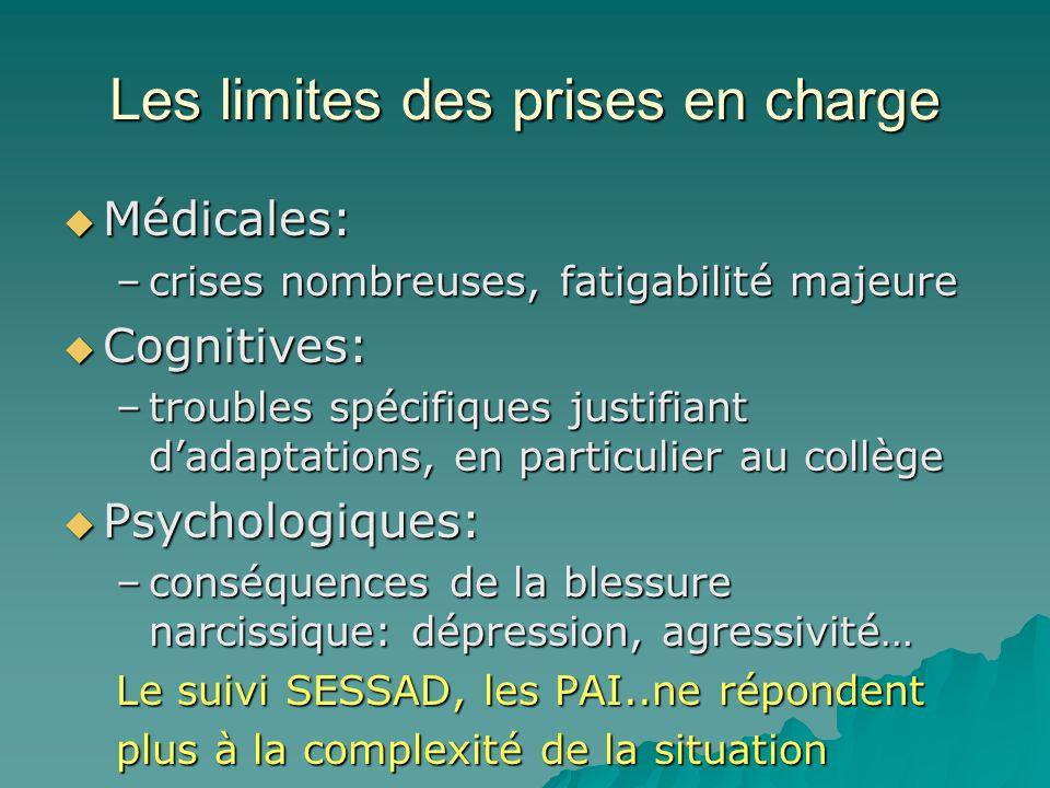 Les limites des prises en charge Médicales: Médicales: –crises nombreuses, fatigabilité majeure Cognitives: Cognitives: –troubles spécifiques justifia