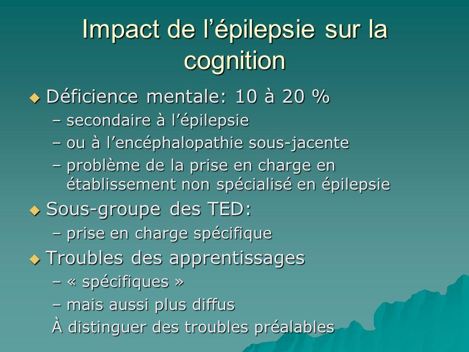 Impact de lépilepsie sur la cognition Déficience mentale: 10 à 20 % Déficience mentale: 10 à 20 % –secondaire à lépilepsie –ou à lencéphalopathie sous