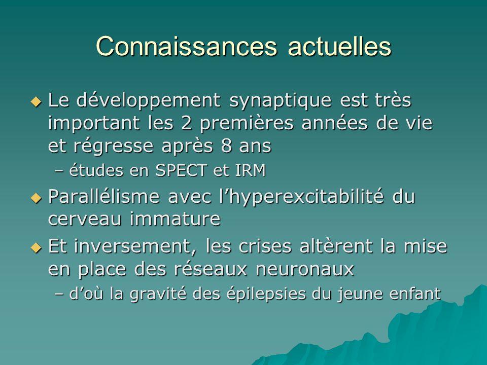 Connaissances actuelles Le développement synaptique est très important les 2 premières années de vie et régresse après 8 ans Le développement synaptiq