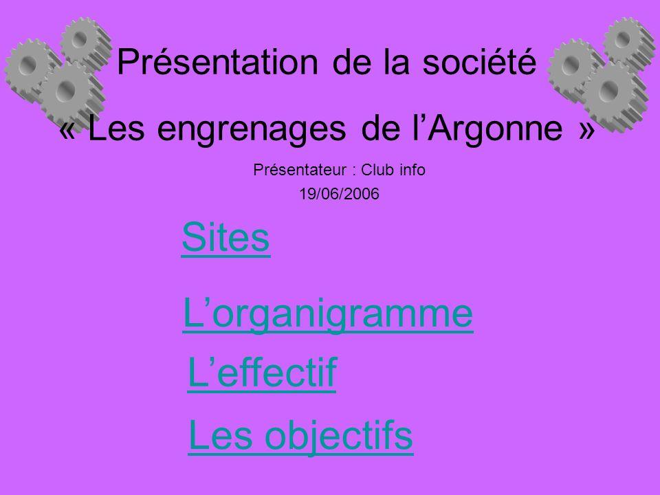 Présentation de la société « Les engrenages de lArgonne » Présentateur : Club info 19/06/2006 Sites Lorganigramme Leffectif Les objectifs