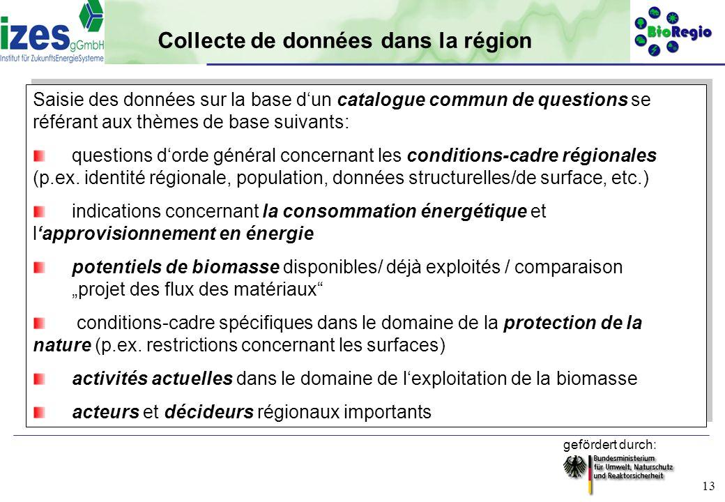 gefördert durch: 13 Collecte de données dans la région Saisie des données sur la base dun catalogue commun de questions se référant aux thèmes de base
