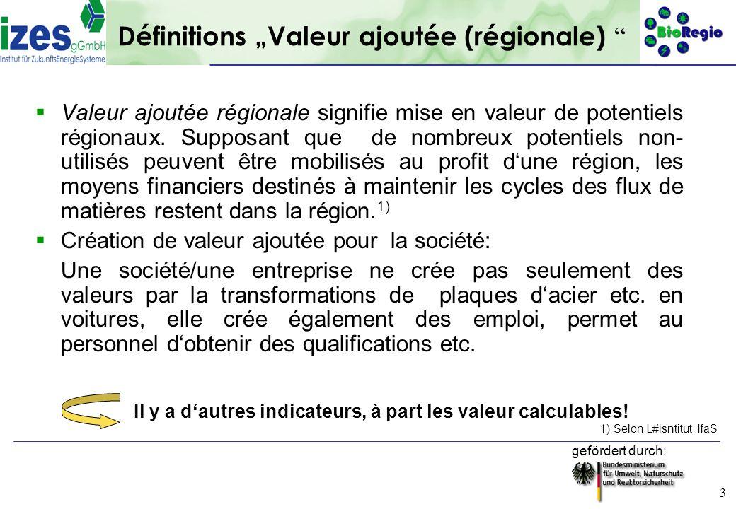 gefördert durch: 3 Définitions Valeur ajoutée (régionale) Valeur ajoutée régionale signifie mise en valeur de potentiels régionaux. Supposant que de n