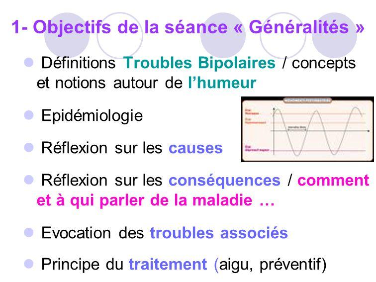 Définitions Troubles Bipolaires / concepts et notions autour de lhumeur Epidémiologie Réflexion sur les causes Réflexion sur les conséquences / commen