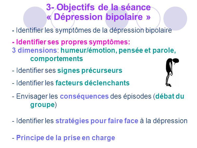 - Identifier les symptômes de la dépression bipolaire - Identifier ses propres symptômes: 3 dimensions: humeur/émotion, pensée et parole, comportement