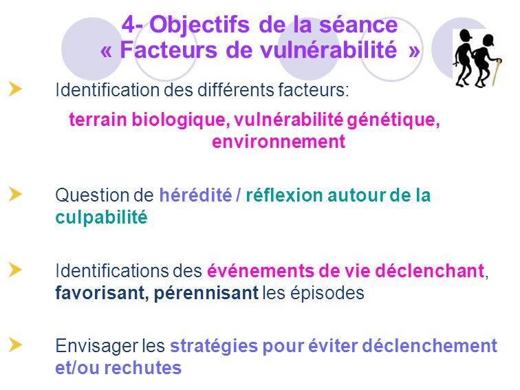 Identification des différents facteurs: terrain biologique, vulnérabilité génétique, environnement Question de hérédité / réflexion autour de la culpa
