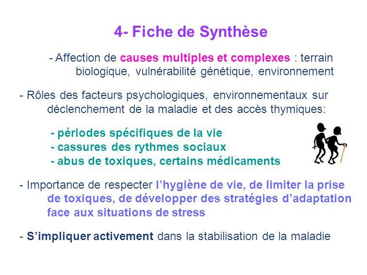 4- Fiche de Synthèse - Affection de causes multiples et complexes : terrain biologique, vulnérabilité génétique, environnement - Rôles des facteurs ps