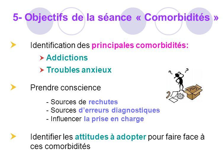 Identification des principales comorbidités: Addictions Troubles anxieux Prendre conscience - Sources de rechutes - Sources derreurs diagnostiques - I