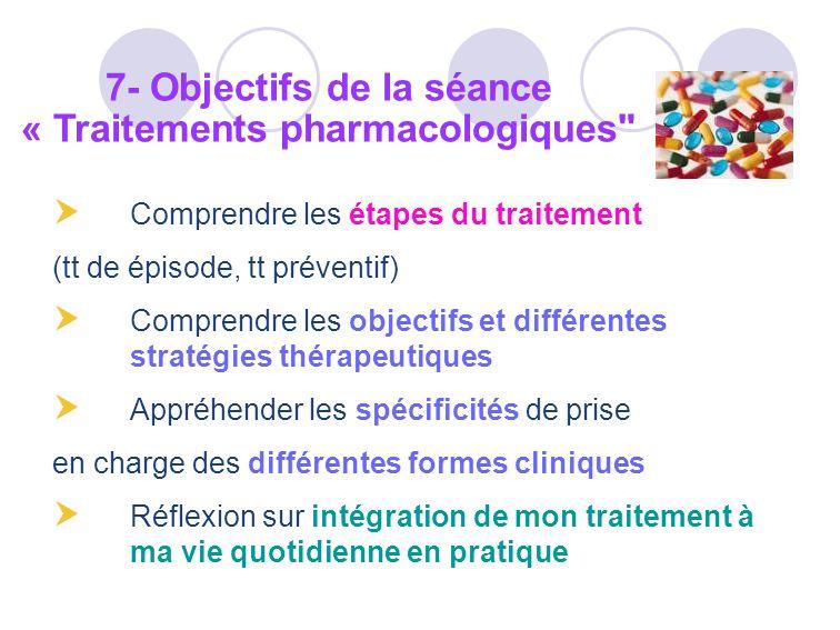 Comprendre les étapes du traitement (tt de épisode, tt préventif) Comprendre les objectifs et différentes stratégies thérapeutiques Appréhender les sp