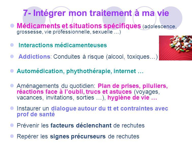Médicaments et situations spécifiques (adolescence, grossesse, vie professionnelle, sexuelle …) Interactions médicamenteuses Addictions: Conduites à r