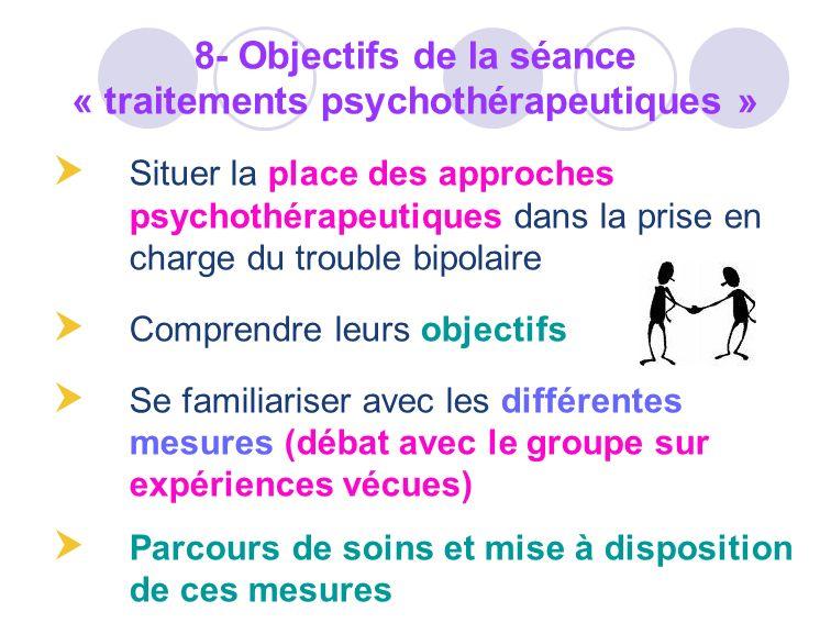 Situer la place des approches psychothérapeutiques dans la prise en charge du trouble bipolaire Comprendre leurs objectifs Se familiariser avec les di