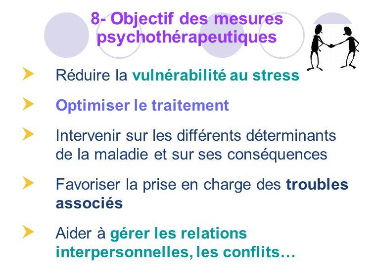 Réduire la vulnérabilité au stress Optimiser le traitement Intervenir sur les différents déterminants de la maladie et sur ses conséquences Favoriser