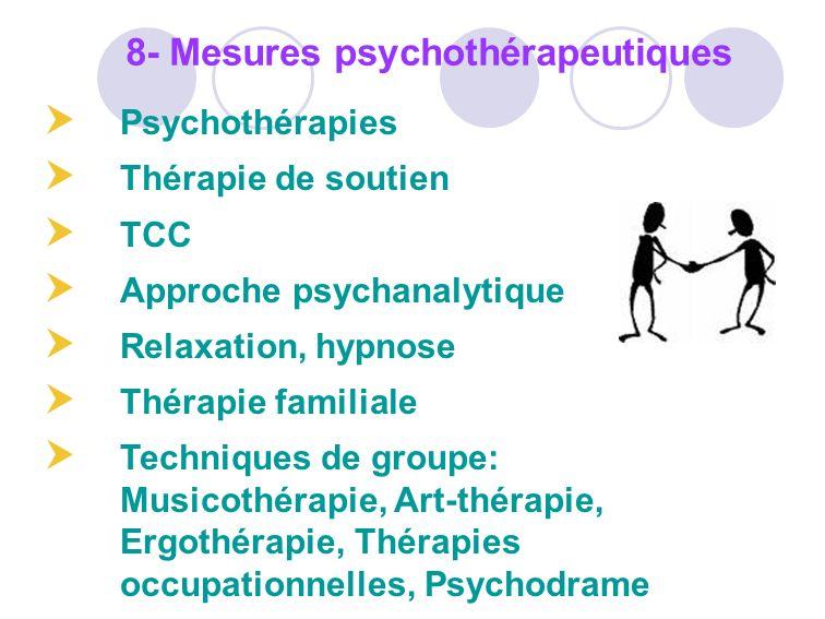 Psychothérapies Thérapie de soutien TCC Approche psychanalytique Relaxation, hypnose Thérapie familiale Techniques de groupe: Musicothérapie, Art-thér