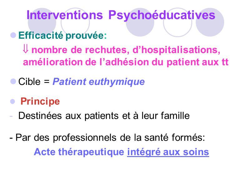 Interventions Psychoéducatives Efficacité prouvée: nombre de rechutes, dhospitalisations, amélioration de ladhésion du patient aux tt Cible = Patient