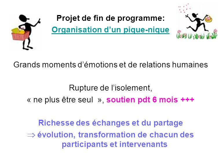 Projet de fin de programme: Organisation dun pique-nique Grands moments démotions et de relations humaines Rupture de lisolement, « ne plus être seul