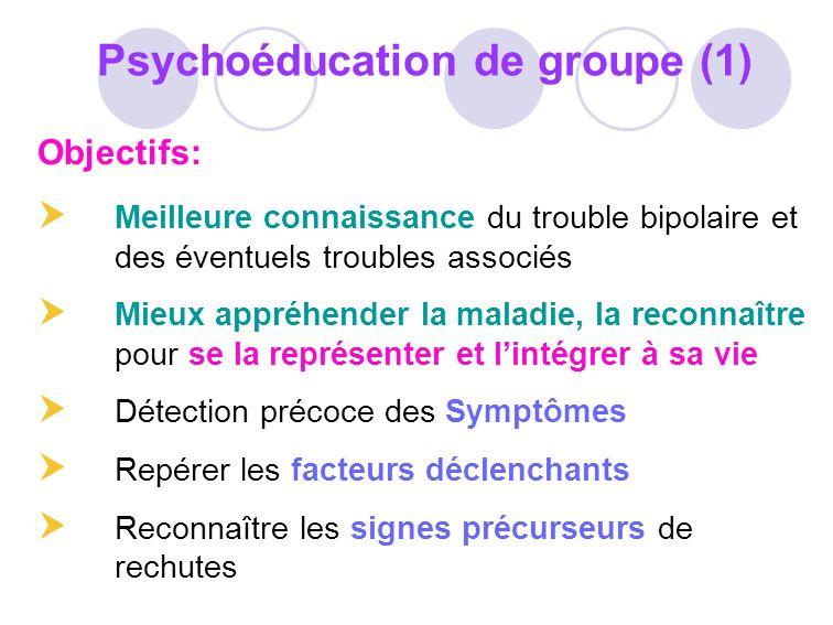 Objectifs: Meilleure connaissance du trouble bipolaire et des éventuels troubles associés Mieux appréhender la maladie, la reconnaître pour se la repr