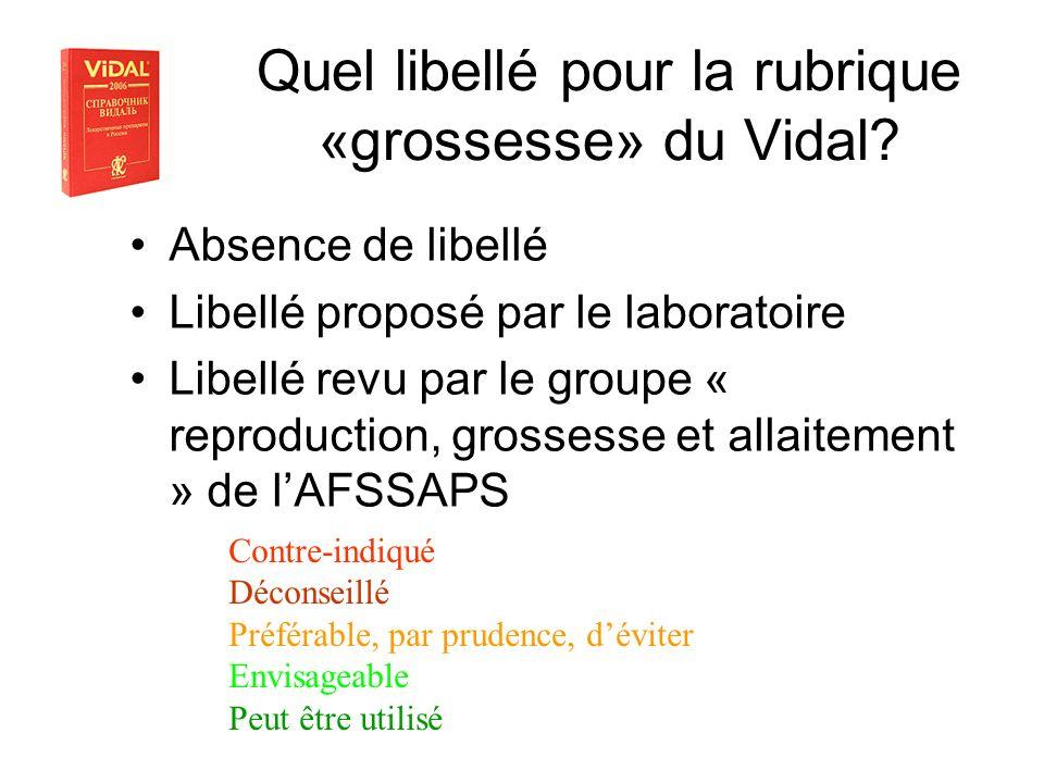 Quel libellé pour la rubrique «grossesse» du Vidal? Absence de libellé Libellé proposé par le laboratoire Libellé revu par le groupe « reproduction, g