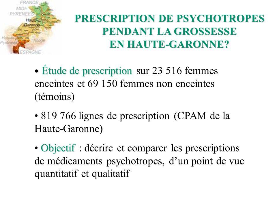 PRESCRIPTION DE PSYCHOTROPES PENDANT LA GROSSESSE EN HAUTE-GARONNE? Étude de prescription Étude de prescription sur 23 516 femmes enceintes et 69 150