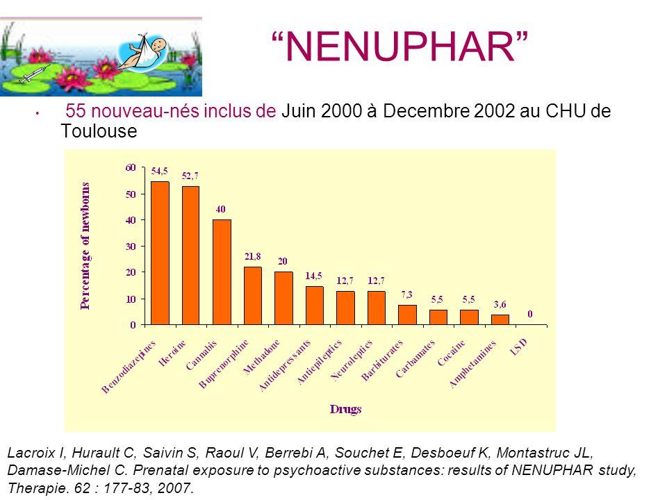 NENUPHAR 55 nouveau-nés inclus de Juin 2000 à Decembre 2002 au CHU de Toulouse Lacroix I, Hurault C, Saivin S, Raoul V, Berrebi A, Souchet E, Desboeuf