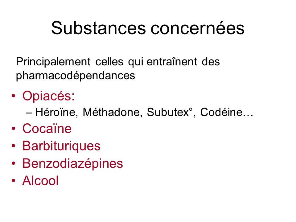 Substances concernées Opiacés: –Héroïne, Méthadone, Subutex°, Codéine… Cocaïne Barbituriques Benzodiazépines Alcool Principalement celles qui entraîne