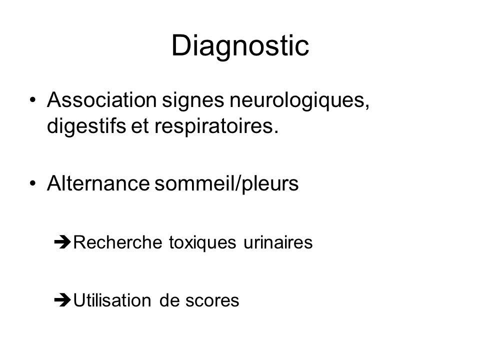 Diagnostic Association signes neurologiques, digestifs et respiratoires. Alternance sommeil/pleurs Recherche toxiques urinaires Utilisation de scores