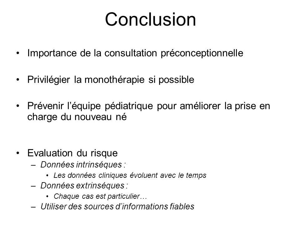 Conclusion Importance de la consultation préconceptionnelle Privilégier la monothérapie si possible Prévenir léquipe pédiatrique pour améliorer la pri