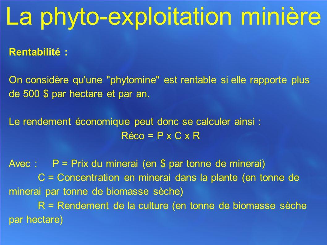 Rentabilité : On considère qu une phytomine est rentable si elle rapporte plus de 500 $ par hectare et par an.